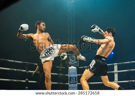 Nakhon Sawan, THAILAND- August 16 : Unidentified boxers compete in Thai Fight: Muay Thai World's Unrivaled Fight on August 16, 2014 , in Nakhon Sawan , Thailand