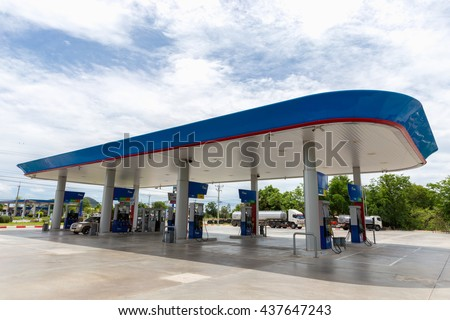 NAKHON SAWAN, THAILAND - JUN 8: PTT Gas Station on Jun 8,2016 in Thailand. PTT is a Thai state-owned SET-listed oil and gas company which owns extensive submarine gas pipelines in the Gulf of Thailand
