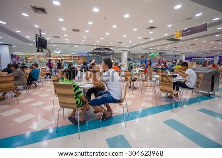 Nakhon Si Thammarat, 27 june 2015: Food court of Tesko Lotus mall in Nakhon Si Thammarat mueang district, Nakhon Si Thammarat province, Thailand. - stock photo