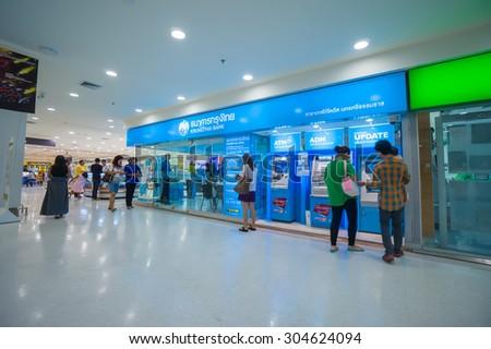 Nakhon Si Thammarat, 27 june 2015: Interior of Krungthai bank branch in Tesco Lotus  hypermarket in Nakhon Si Thammarat, Nakhon Si Thammarat province, Thailand. - stock photo