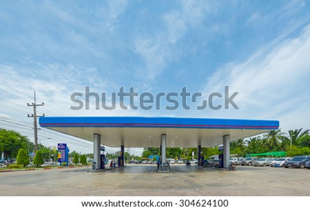 Nakhon Si Thammarat, 27 june 2015: PTT gas station in Nakhon Si Thammarat mueang district, Satun province, Thailand. PTT is largest oil company in Thailand