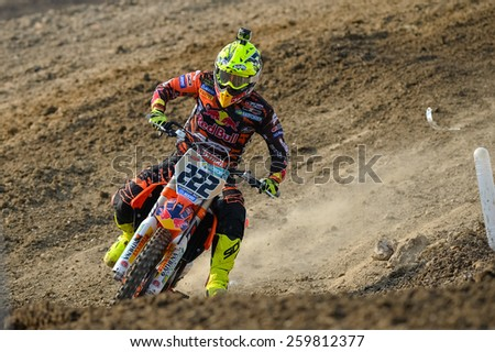 Nakhonchaisri,THAI-MAR 08:Antonio Cairoli of KTM ITA FMI Red Bull KTM Factory Racing competes during The Thai MXGP World Championship at thailand Circuit on March08,2015 in Nakhonpathom,Thailand.