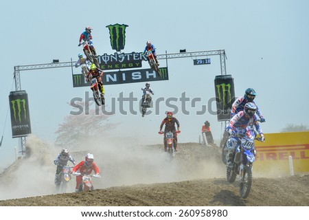 Nakhonchaisri,THAI-MAR 08:Motocross riders perform on theg competes during the Thai MXGP World Championship at thailand Circuit on March08,2015 in Nakhonpathom,Thailand - stock photo