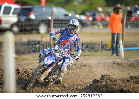 Nakhonchaisri,THAI-MAR 08:Romain Febvre of Yamaha FRA FFM Yamaha Factory Racing race during The Thai MXGP World Championship at thailand Circuit on March08,2015 in Nakhonpathom,Thailand.