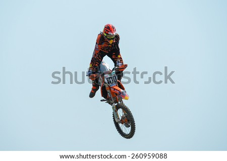 Nakhonchaisri,THAI-MAR 08:Tommy Searle#100 of KTM GBR ACU Red Bull KTM Factory Racing race during The Thai MXGP World Championship at thailand Circuit on March08,2015 in Nakhonpathom,Thailand - stock photo
