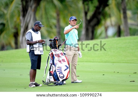 NAKHONPATHOM,THAILA ND - AUG 10:Danny Chia of MAL in action during hole9 day two of the Golf Thailand Open at Suwan Golf&Country Club on August 10, 2012 in Nakhonpathom Thailand