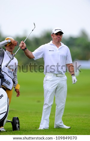 NAKHONPATHOM,THAILA ND-AUG 9:Paul Mcginley of IRL in action during day one of the Golf Thailand Open at Suwan Golf&Country Club on August 9, 2012 in Nakhonpathom Thailand