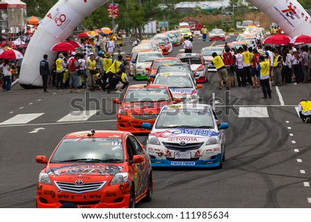 "NAKHONRATCHASIMA, THAILAND-SEPTEMBER 02 : Competition "" Toyota One Make Race 2012 "" Round 4  Championship of Thailand, on SEPTEMBER 02, 2012   at Sport Complex in Nakhonratchasima, Thailand"