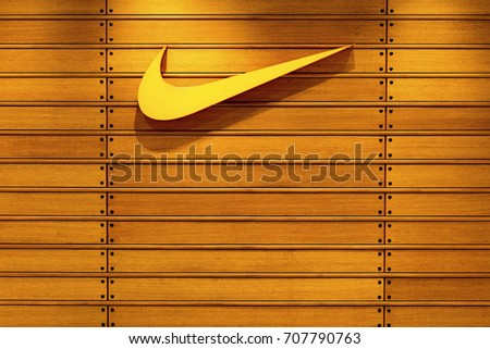 Nakhonratchasrima,Thailand, August 05, 2017 : Nike logo. Nike is one of famous sports fashion brands worldwide and it is one of the world's largest suppliers of athletic shoes and apparel.