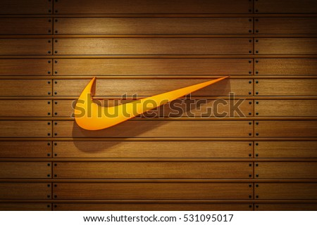 Nakhonratchasrima,Thailand, Dec 07, 2016: Nike logo. Nike is a global sports clothes and running shoes retailer. Nike stores are located all over the world