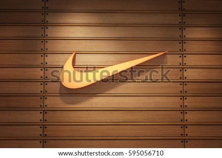 Nakhonratchasrima,Thailand, MAR 04, 2017: Nike logo. Nike is a global sports clothes and running at Nike stores are located all over the world