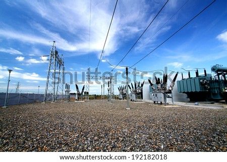 NAKHONSAWN-THAILAND -NOVEMBER 11 : Outdoor high voltage switchgear in electrical substation to generate electricity on November 11, 2013 in Nakhonsawan province, Thailand - stock photo