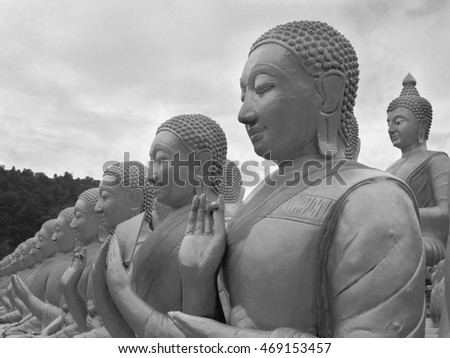 NaKonNaYok,THAILAND - July 31 : Masterpiece of traditional Thai style moled, Stucco of The Buddha Body at MaKha Bucha Buddhist Memorial Park in Black and White on July 31, 2016 in NaKonNaYok, Thailand
