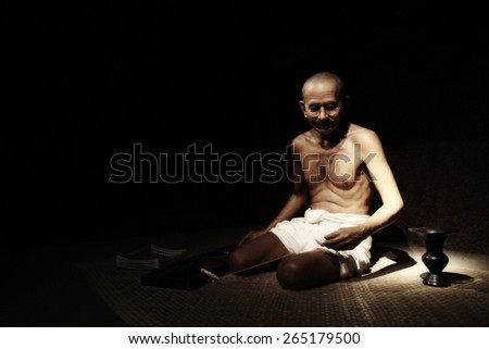 NAKORNPRATHOM,THAILAND-MARCH 27:Mahatma Gandhi brought freedom to India and new method of solving disputes Non-Violence show at Thai Human Imagery Museum on MARCH 27,2015 in Nakornprathom,Thailand - stock photo