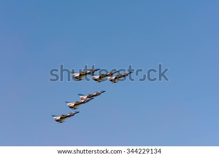 "Nakornratchasima, THAILAND"" August 1 st Aerobatic Team"" Aerobatic group formation during Air Show on November 27, 2015 at Nakornratchasima, Thailand"