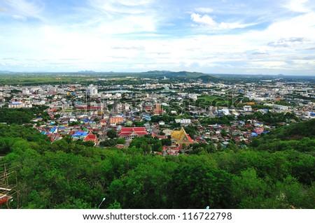 Nakornsawan of Thailand with bird s eye view - stock photo