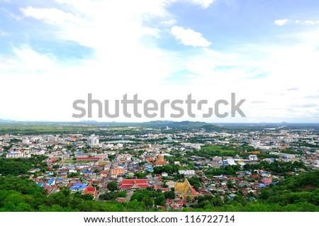 Nakornsawan of Thailand with birds eye view - stock photo
