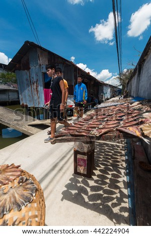 NAKRON SRI THAMMARAT THAILAND-MAY 05 :The fish laying out his catch to dry in the sun on May 05, 2016 in Nakron sri thammarat, Thailand