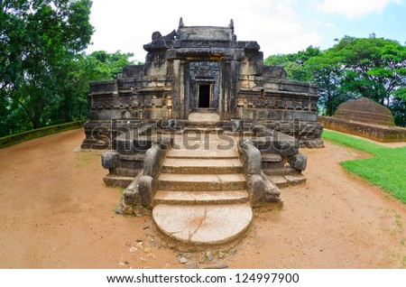Nalanda Gedige, The centre of Sri Lanka, old stone building used as a place of worship both by the Buddhist and the Hindus - stock photo