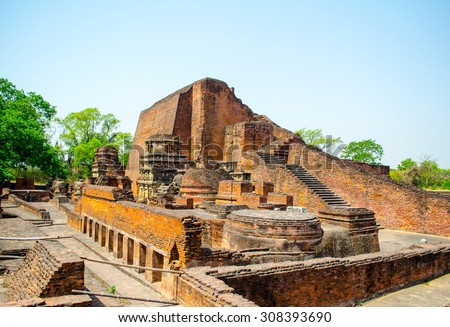 Nalanda University Ruin : Main Temple in India - stock photo
