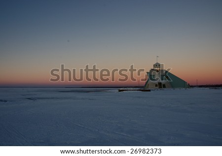 Nallikari viewing platform during a day in the middle of the winter. - stock photo