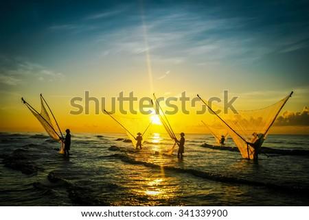 Nam Dinh, VIETNAM - August 1 :. Fishermen working in the fishing village of Hai Hau, Vietnam on August 1, 2014 in Hai Hau district, Nam Dinh . - stock photo