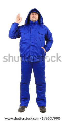 Nam in blue jacket. Isolated on a white background. - stock photo