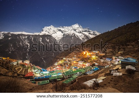 Namche Bazaar aerial view, Everest trek, Himalaya, Nepal - stock photo