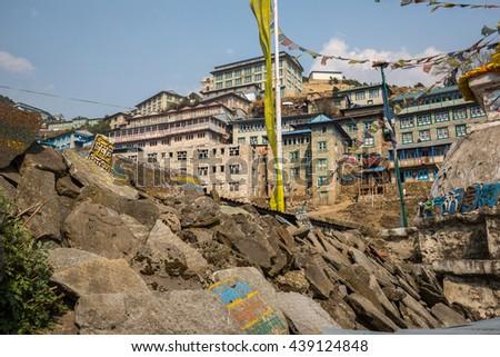 NAMCHE BAZAAR, NEPAL-APRIL 27: Panorama of the city 27, 2016 in Namche Bazaar, Panorama of the city. - stock photo