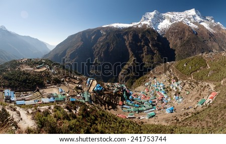 Namche Bazar and mount Kongde - Sagarmatha national park - Khumbu valley - way to Everest base camp - Nepal - stock photo