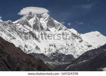 NAMCHE BAZAR, NEPAL - CIRCA OCTOBER 2013: view of the Himalayas (Lhotse) from near Namche Bazaar circa October 2013 in Namche Bazar. - stock photo