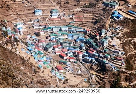 Namche Bazar - Sagarmatha national park - Khumbu valley - way to Everest base camp - Nepal - stock photo