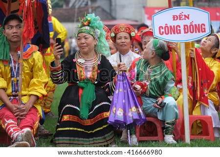 "NAMDINH, VIETNAM - APRIL 10, 2016: Vietnamese Artists in The folklore activities on ""PHUDAY"" Festival at Namdinh, Vietnam."
