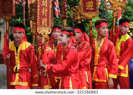 NAMDINH, VIETNAM - OCTOBER 2, 2015: Vietnam dancer in Tran temple festival, Namdinh, vietnam. The folklore activities to commemorate the national hero Tran Hung Dao.