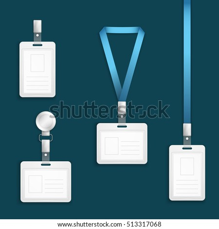 Name tag holder badge with lanyard retractor templates. Blank badge cards for id, illustration