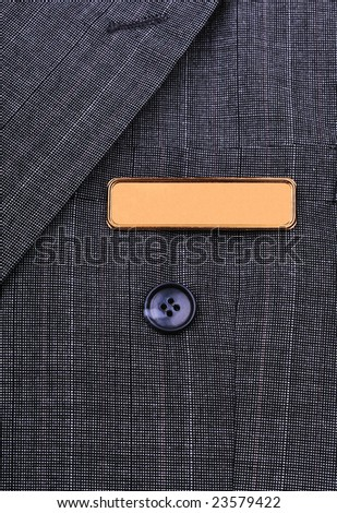 name tag on the business suit