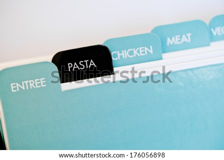 "named tabs on a recipe card box with ""pasta"" in black - stock photo"