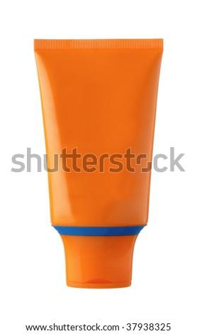 nameless orange and blue plastic bottle for beauty product on white background - stock photo