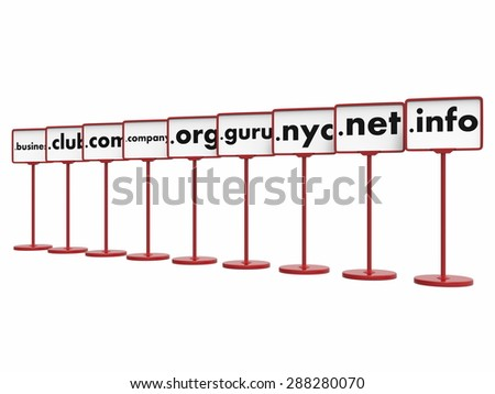 Nameplates with Popular Domain Names, Internet Concept. - stock photo