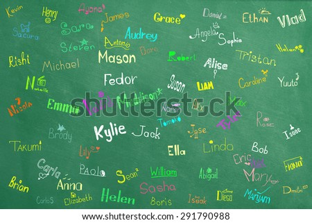 Names and pictures of children at school board - stock photo