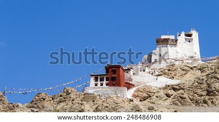 Namgyal Tsemo monastery panorama at sunny day (Leh, India) - stock photo
