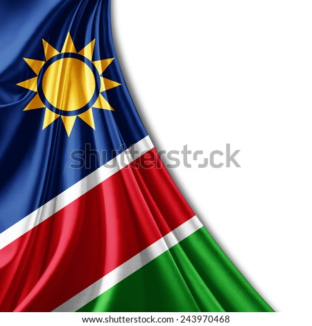 Namibia flag and white background - stock photo