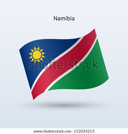 Namibia flag waving form. See also vector version.