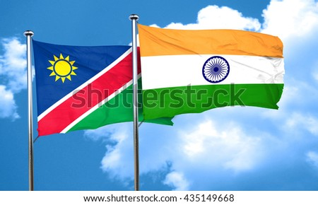 Namibia flag with India flag, 3D rendering  - stock photo