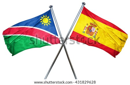 Namibia flag with Spain flag, 3D rendering