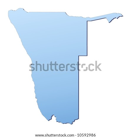 Namibia map filled with light blue gradient. High resolution. Mercator projection.