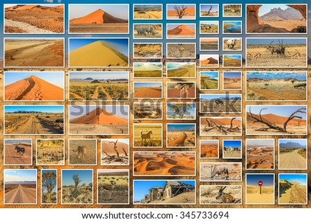 Namibia pictures collage of different locations landmark of Namibia including Etosha, Namib-Naukluft, Sperrgebiet, Skeleton Coast, Sandwich Harbour, Kalahari Desert in Africa on desert background. - stock photo