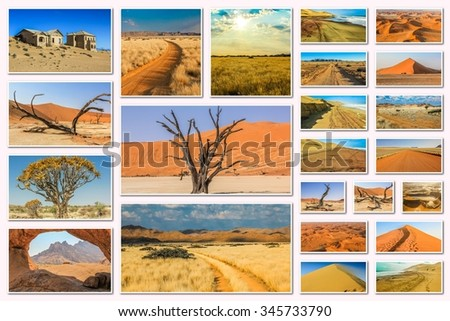 Namibia pictures collage of different locations landmark of Namibia including Etosha, Namib-Naukluft, Sperrgebiet, Skeleton Coast, Sandwich Harbour, Kalahari Desert in Africa. - stock photo