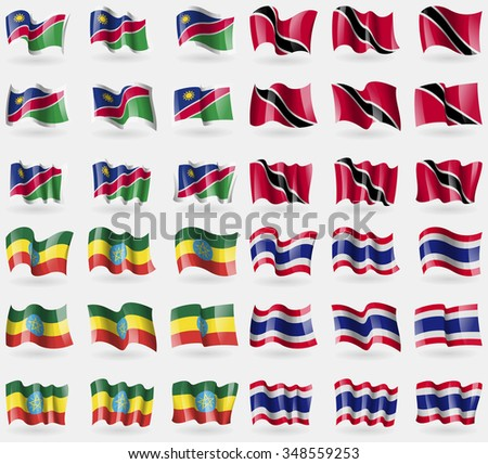 Namibia, Trinidad and Tobago, Ethiopia, Thailand. Set of 36 flags of the countries of the world. illustration
