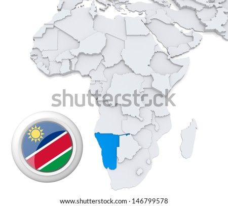 Namibia with national flag - stock photo